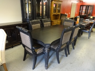 Carved Black Dining Set with 6 Chairs & 2 Leaves