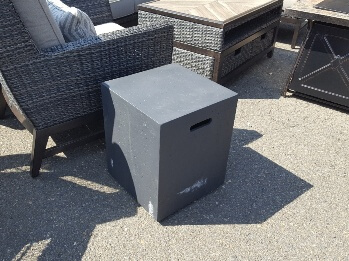 Dark Cappuccino Finish Outdoor Cube End Table