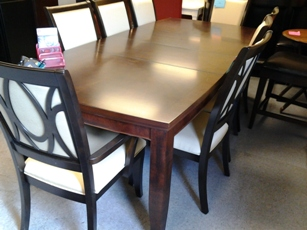 Legacy Dark Espresso Finish Dining Table with Curved Ends & 2 Leaves