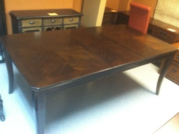 Dark Espresso Finish Dining Table with 2 Leaves and Angled Corners