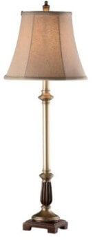 Crestview Slender Bronze Table Lamp with Champagne Shade