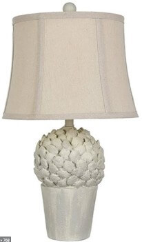 Crestview Distressed White Artichoke Table Lamp