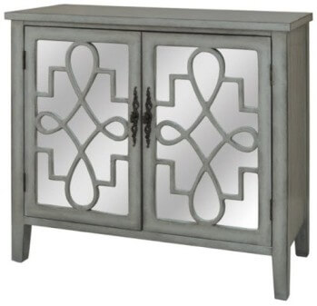 Crestview Grey Console Cabinet with Mirrored Door Accents