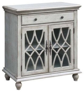 Crestview Distressed White Console Cabinet with Glass Doors