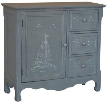 Crestview Blue Sailboats Console Cabinet