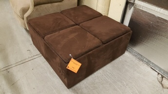 Homelegance Brown Fabric Square Storage Ottoman