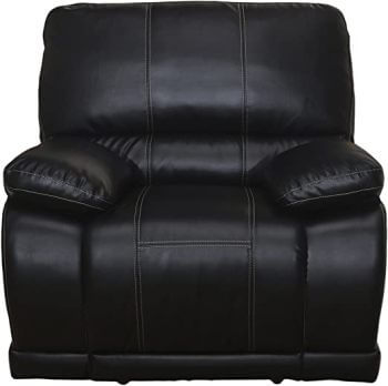 New Classic Electra Black Faux Leather Recliner with Arm Storage