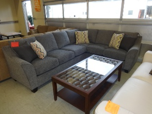Emerald Calvina Plush Charcoal Chenille Sectional