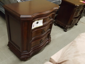 Homelegance Dark Cherry Finish Nightstand with Angled Trim & Carved Accents