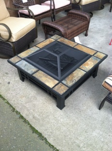 Outdoor Fire Pit With Slate Tile Accents