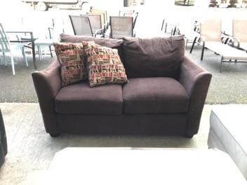 Dark Brown Fabric Loveseat with Flaired Arms (blemish)