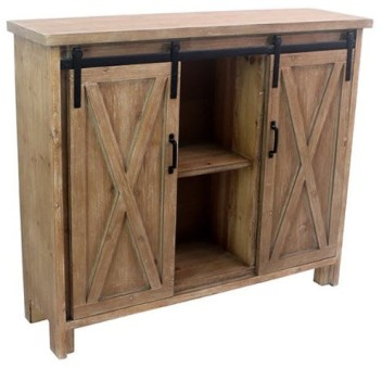 Crestview Distressed Hardwood Console with Barn Doors