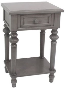 Crestview Grey Side Table with Turned Legs
