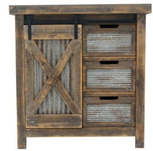 Crestview Distressed Hardwood Console with Corrugated Iron Accents