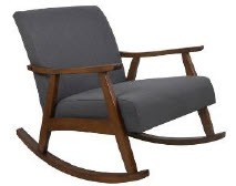 Crestview Espresso Finish Rocking Chair Blue Upholstery