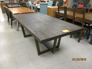 Modus Resto Coffee Bean Dining Table with Bronze Metal Base