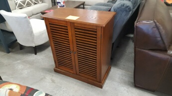Golden Maple Finish Cabinet with Louvered Doors
