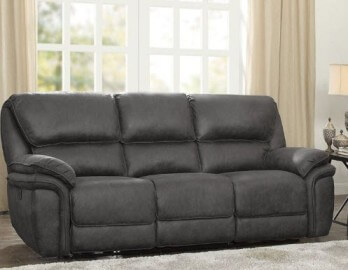 Homelegance Hadden Charcoal Microsuede Reclining Sofa