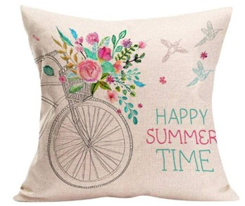 Happy Summer Time Bicycle Throw Pillow