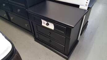 Homelegance Black 3-Drawer Nightstand with Wide Trim Accents