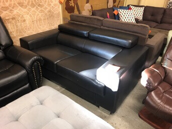 Homelegance Vernon Black Faux Leather Loveseat with Adjustable Headrests