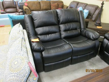 Homelegance Black Bonded Leather Reclining Loveseat with Contrast Stitch Accents
