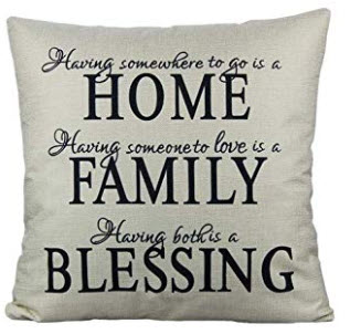 HOME FAMILY BLESSING Fabric Throw Pillow