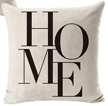 Black & White HOME Fabric Throw Pillow