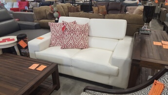 Homelegance Vernon White Faux Leather Loveseat with Adjustable Headrests