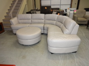 HTL Light Silver Italian Leather Curved Sectional with Chaise