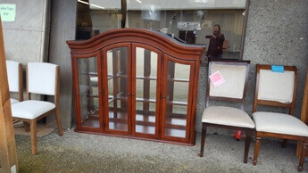 Legacy Arched Cherry Finish Hutch Top with Glass Doors (blemish)