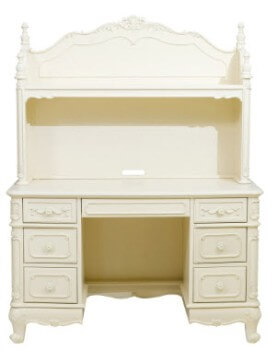 Homelegance Elegant Ivory Desk with Hutch & Carved Accents