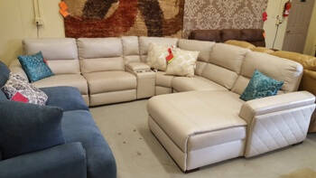 Jason Furniture Jessi White Leather 6-Piece Power Reclining Sectional (scratches)