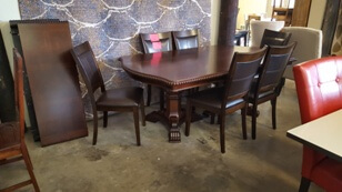 Universal Lakewood Cherry Dining Table with 3 Leaves