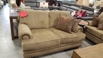 Lane Golden Beige Chenille Loveseat with Rolled Arms & Nailhead Trim