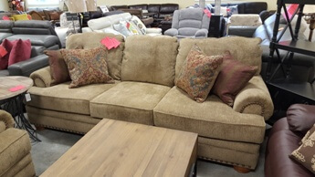 Lane Golden Beige Chenille Sofa with Rolled Arms & Nailhead Trim