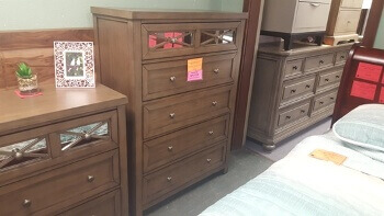 Carter Light Brown Chest with Mirrored Accents (blemishes)