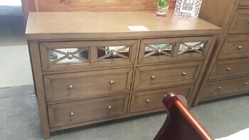 Carter Light Brown Dresser with Mirrored Accents