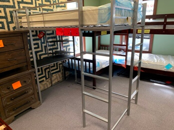 Coaster Silver Metal Twin Loft Bed with Desk