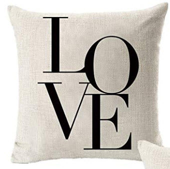 Black & White LOVE Fabric Throw Pillow