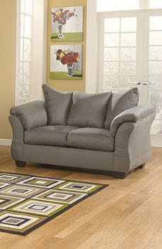 Ashley Madeline Grey Microsuede Loveseat with Flared Arms