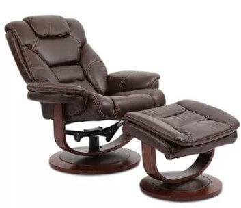 Manwah Majesty Dark Brown Leather Recliner with Ottoman