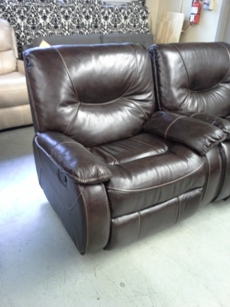 ManWah Dante Walnut Leather Power Recliner