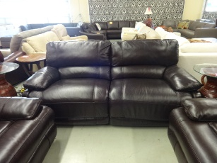 ManWah Dark Brown Leather Power Reclining Sofa with Waterfall Back Cushions