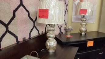 CBK Sculpted Mercury Glass Table Lamp with Round Beige Shade