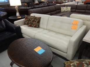 Chateau Dax Milan Italian Pearl Leather Sofa