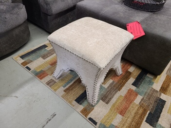 Beige Chenille Accent Ottoman with Nailhead Trim