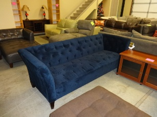Max Home Lizbeth Midnight Velvet Sofa With Tufted Accents