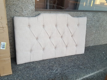 Beige Full/Queen Headboard Panel with Tufted Accents