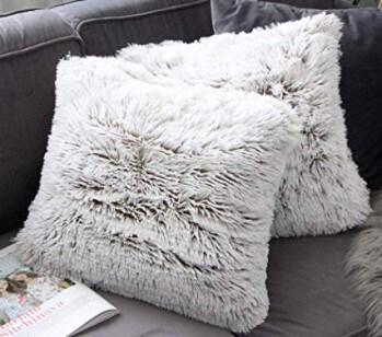 Brown Ombre Faux Fur Throw Pillows (set of 2)